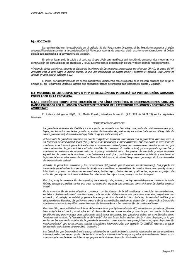 Pleno núm. 01/13.- 28 de enerob).- MOCIONES          De conformidad con lo establecido en el artículo 81 del Reglamento Or...