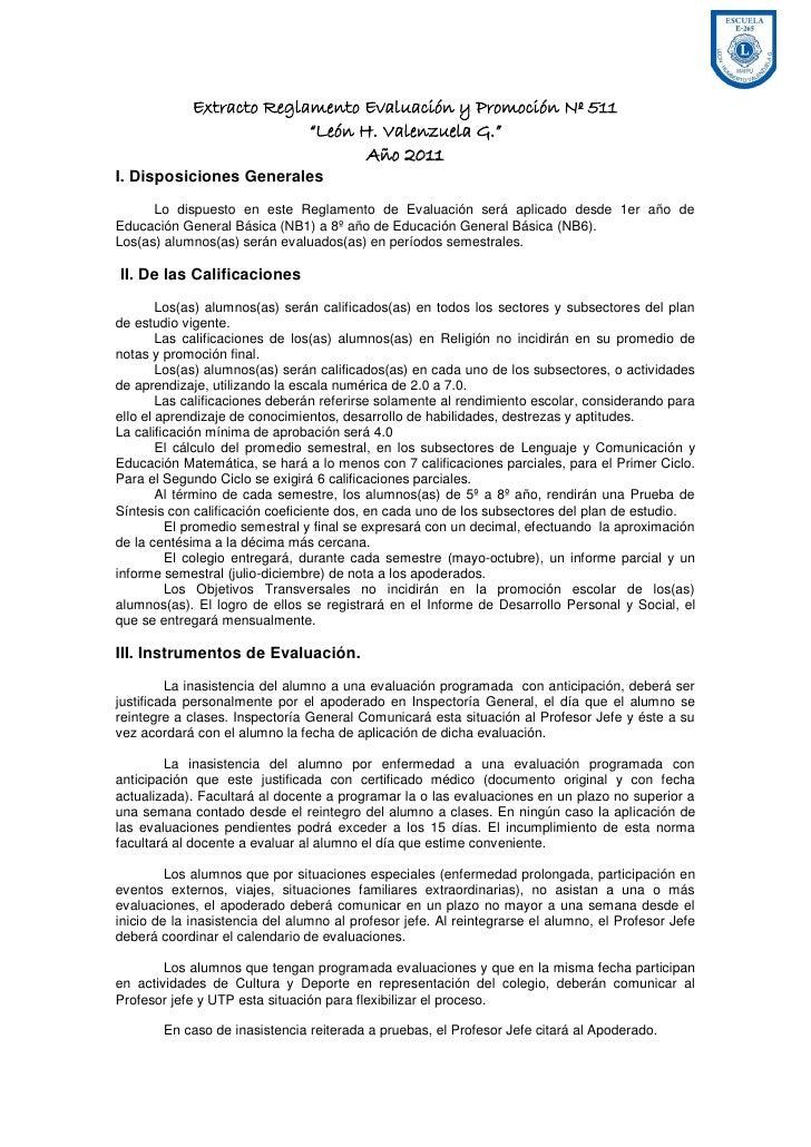 """Extracto Reglamento Evaluación y Promoción Nº 511                          """"León H. Valenzuela G.""""                        ..."""