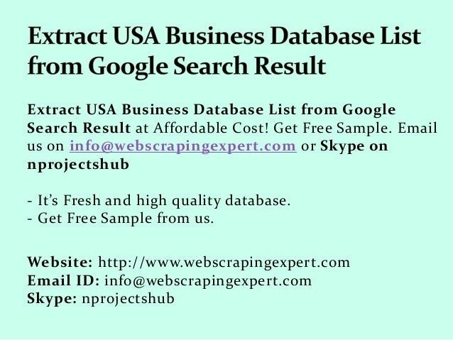 Extract USA Business Database List from Google Search Result