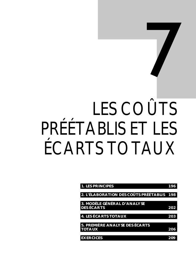 1. LES PRINCIPES 196 2. L'ÉLABORATION DES COÛTS PRÉÉTABLIS 198 3. MODÈLE GÉNÉRAL D'ANALYSE DES ÉCARTS 202 4. LES ÉCARTS TO...