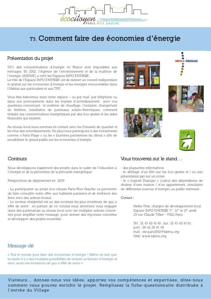 T3. Comment                     faire des économies d'énergie  Présentation du projet 50% des consommations d'énergie en F...