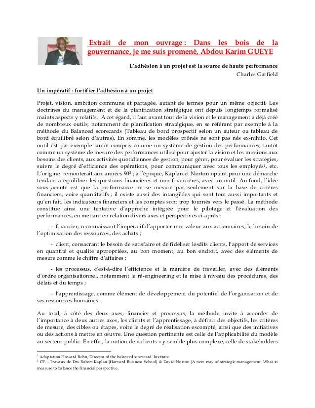Extrait de mon ouvrage : Dans les bois de la gouvernance, je me suis promené, Abdou Karim GUEYE  L'adhésion à un projet es...