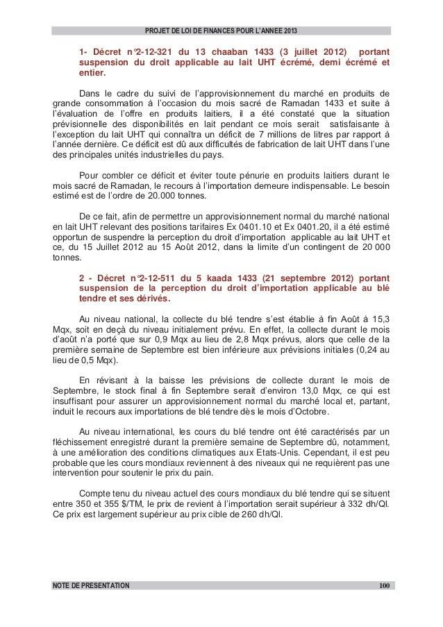 Extrait note de présentation plf_2013_dispositions_douanières&fiscales-vf Slide 2