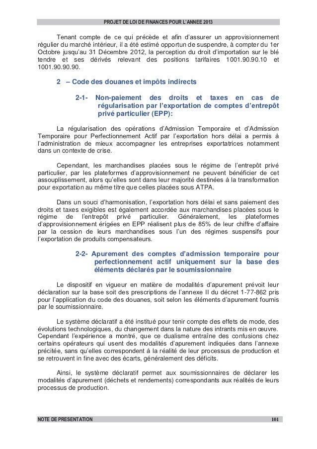 Extrait note de présentation plf_2013_dispositions_douanières&fiscales-vf Slide 3