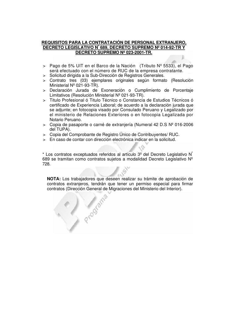 REQUISITOS PARA LA CONTRATACIÓN DE PERSONAL EXTRANJERO,DECRETO LEGISLATIVO Nº 689, DECRETO SUPREMO Nº 014-92-TR Y         ...