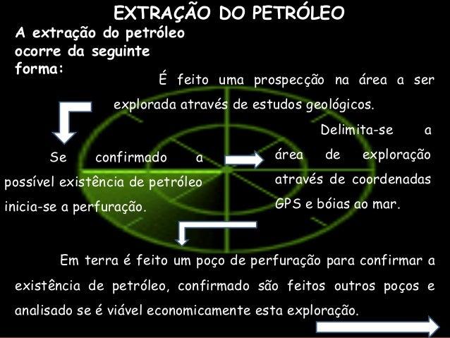 EXTRAÇÃO DO PETRÓLEO A extração do petróleo ocorre da seguinte forma: É feito uma prospecção na área a ser explorada atrav...