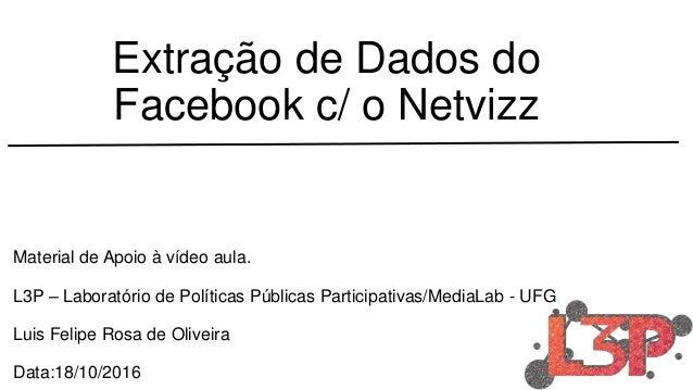 Extração de Dados do Facebook c/ o Netvizz Material de Apoio à vídeo aula. L3P – Laboratório de Políticas Públicas Partici...