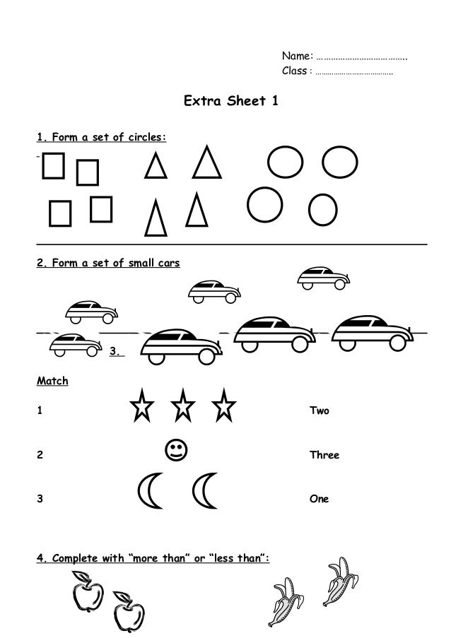 Name: ………………………………..  Class : ………………………………..  Extra Sheet 1  1. Form a set of circles:  2. Form a set of small cars  3.  M...