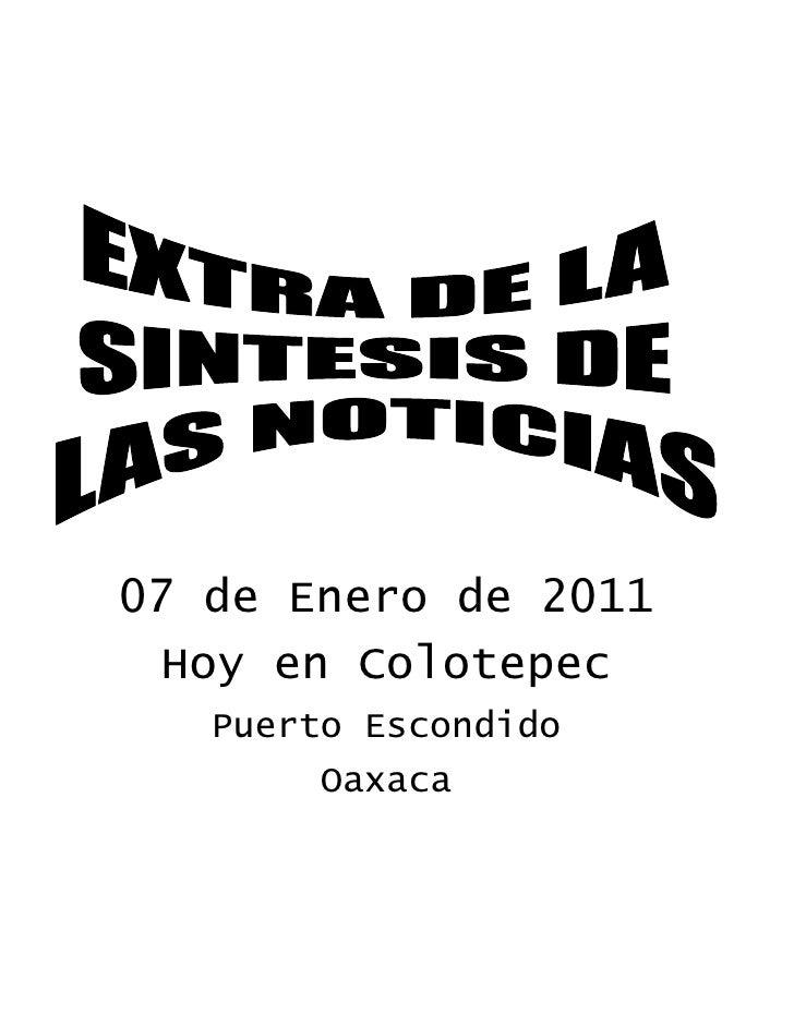 07 de Enero de 2011  Hoy en Colotepec    Puerto Escondido         Oaxaca