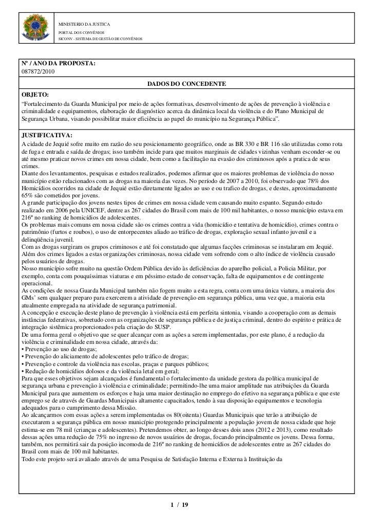 MINISTERIO DA JUSTICA              PORTAL DOS CONVÊNIOS              SICONV - SISTEMA DE GESTÃO DE CONVÊNIOSNº / ANO DA PR...