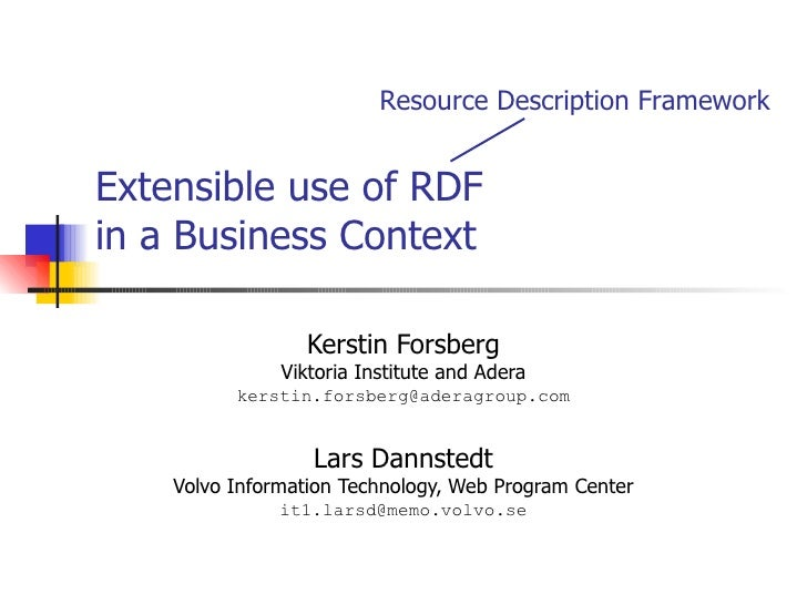 Extensible use of RDF in a Business Context Kerstin Forsberg Viktoria Institute and Adera [email_address] Lars Dannstedt V...