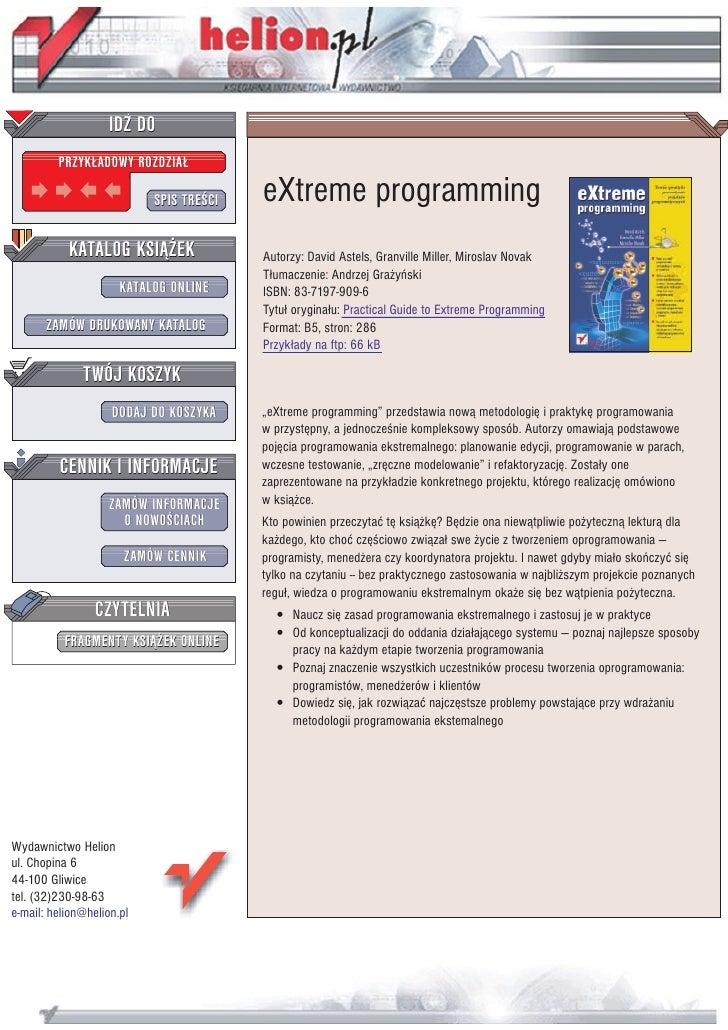 IDZ DO          PRZYK£ADOWY ROZDZIA£                             SPIS TRE CI   eXtreme programming            KATALOG KSI¥...
