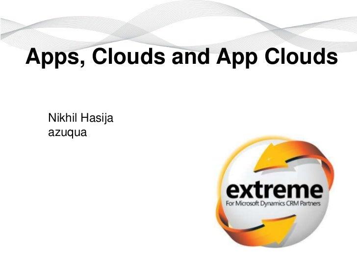 Apps, Clouds and App Clouds  Nikhil Hasija  azuqua                  For Microsoft Dynamics CRM Partners