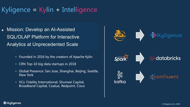 © Kyligence Inc. 2021 Kyligence = Kylin + Intelligence  Mission: Develop an AI-Assisted SQL/OLAP Platform for Interactive...