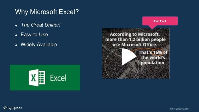 © Kyligence Inc. 2021  The Great Unifier!  Easy-to-Use  Widely Available Why Microsoft Excel? Fun Fact