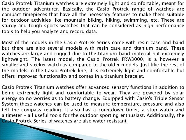 Extremely light and comfortable casio protrek titanium watches Slide 2