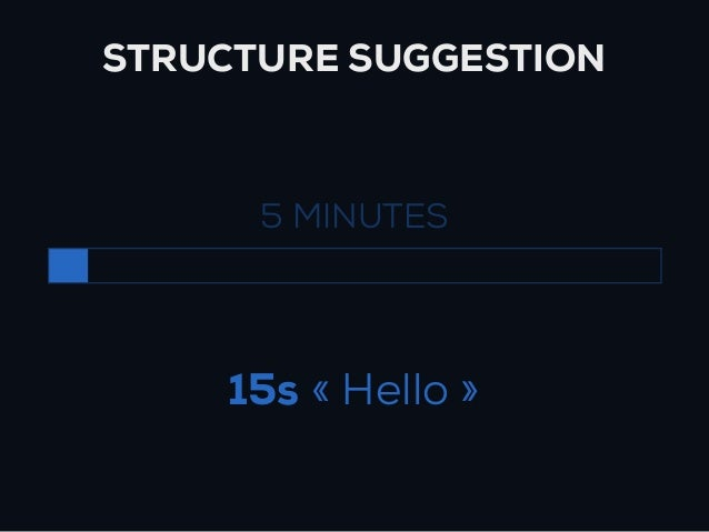 STRUCTURE SUGGESTION      5 MINUTES     15s « Hello »