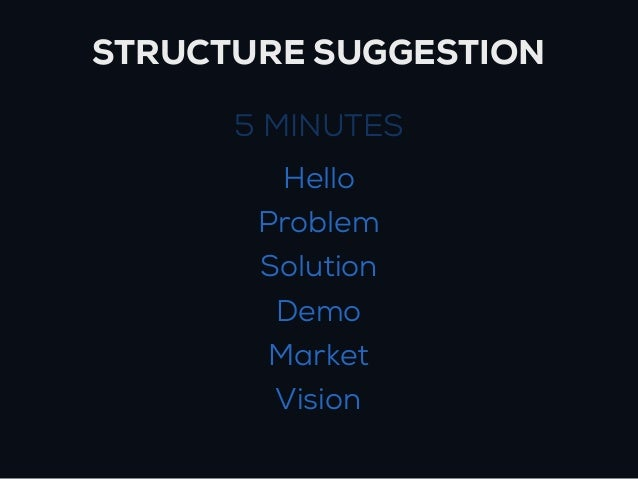 STRUCTURE SUGGESTION      5 MINUTES        Hello       Problem       Solution        Demo       Market        Vision