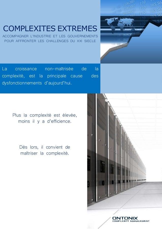 COMPLEXITES EXTREMES ACCOMPAGNER L'INDUSTRIE ET LES GOUVERNEMENTS POUR AFFRONTER LES CHALLENGES DU XXI SIECLE La croissanc...