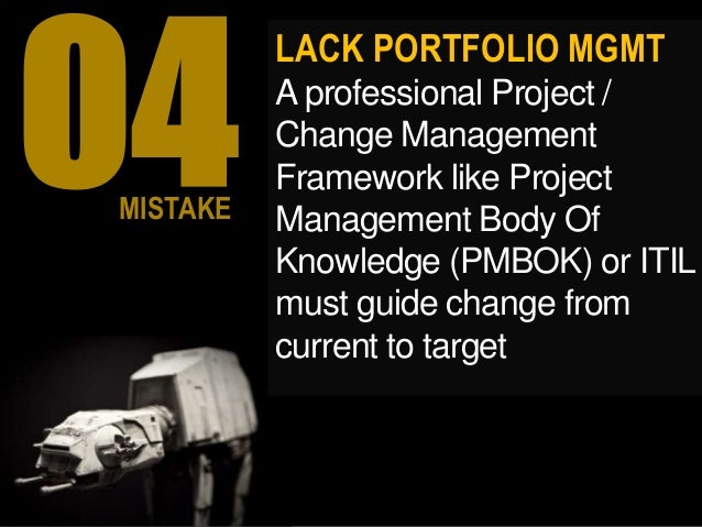 LACK PORTFOLIO MGMT A professional Project / Change Management Framework like Project Management Body Of Knowledge (PMBOK)...