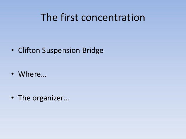 The first concentration• Clifton Suspension Bridge• Where…• The organizer…