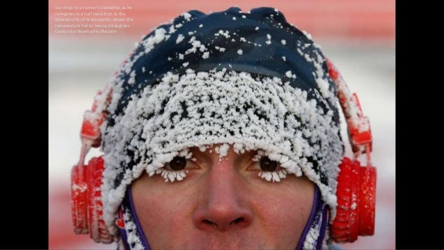 Ice clings to a runner's eyelashes as he competes in a half marathon in the Siberian city of Krasnoyarsk, where the temper...