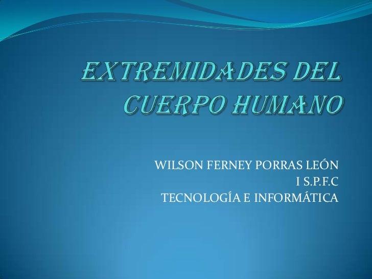 EXTREMIDADES DEL CUERPO HUMANO<br />WILSON FERNEY PORRAS LEÓN<br />I S.P.F.C<br />TECNOLOGÍA E INFORMÁTICA<br />