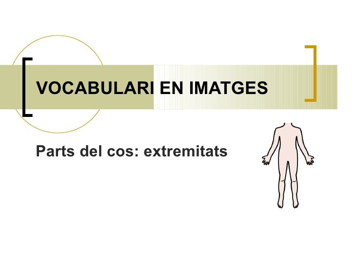 VOCABULARI EN IMATGES Parts del cos: extremitats