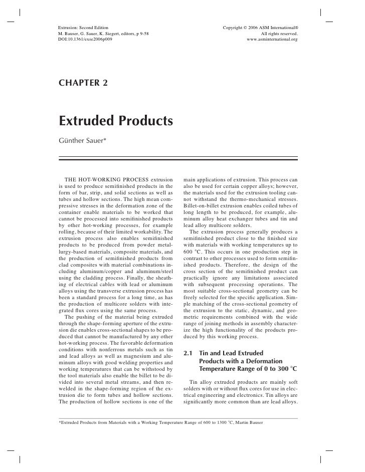 Extrusion: Second Edition                                                      Copyright © 2006 ASM International®M. Bause...