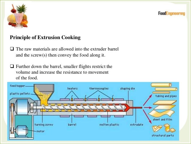 Principle of Extrusion Cooking  The raw materials are allowed into the extruder barrel and the screw(s) then convey the f...