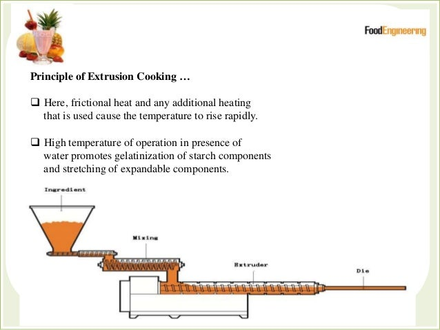 Principle of Extrusion Cooking …  Here, frictional heat and any additional heating that is used cause the temperature to ...