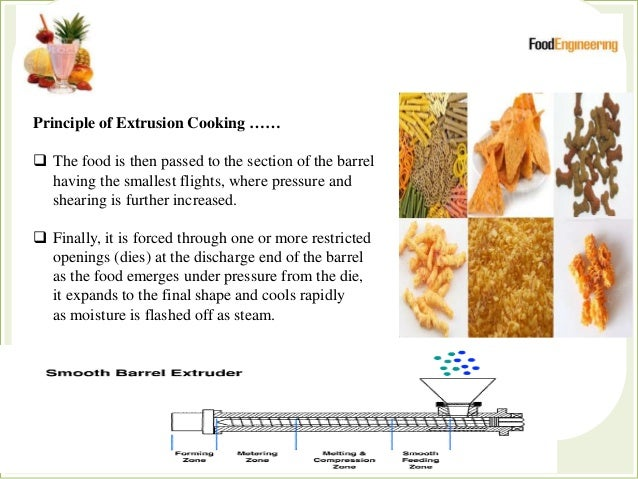 Principle of Extrusion Cooking ……  The food is then passed to the section of the barrel having the smallest flights, wher...