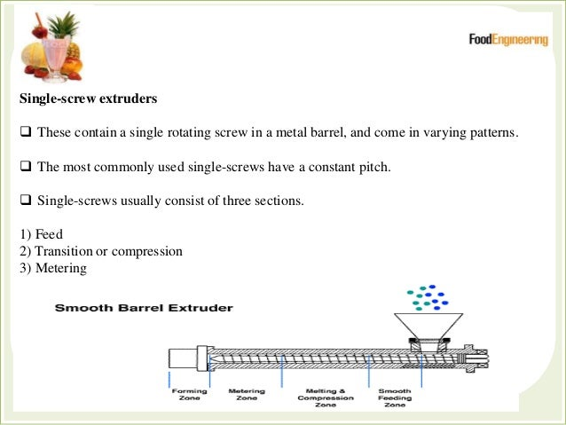 Feed section  The portion of the screw which accepts the food materials at the feed port.  Usually the feed section is c...