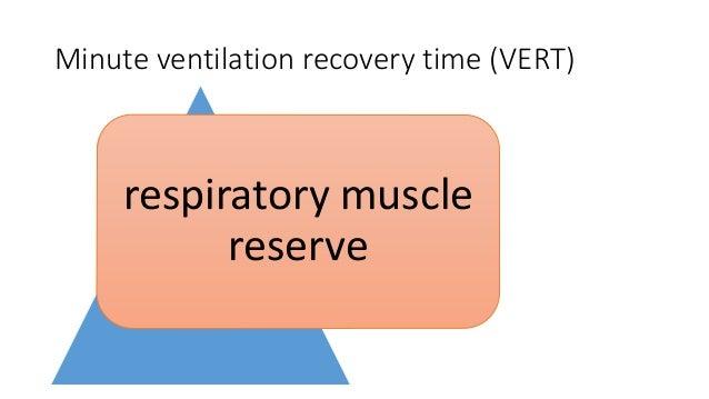 Minute ventilation recovery time (VERT) Shorter VERT successful extubation 3.6 ± 2.7 min vs. 9.6 ± 5.8 min Prolonged VERT ...