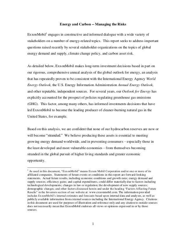 Exxon Mobil: Climate Change