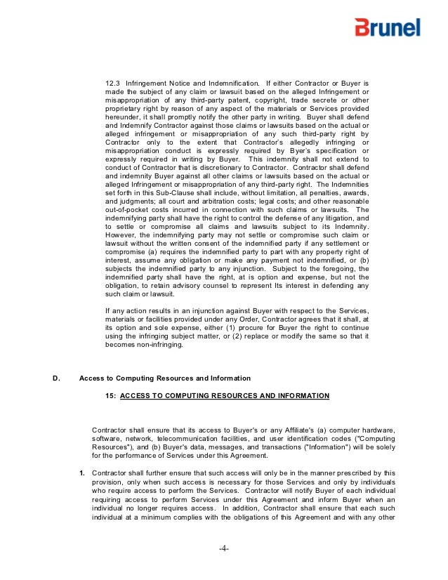 Exxon Mobil Contract Terms And Confidentiality Agreement