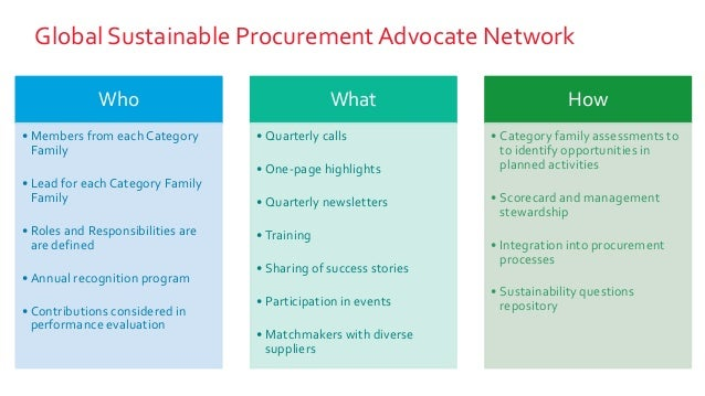 Global Sustainable ProcurementAdvocate Network Who • Members from each Category Family • Lead for each Category Family Fam...