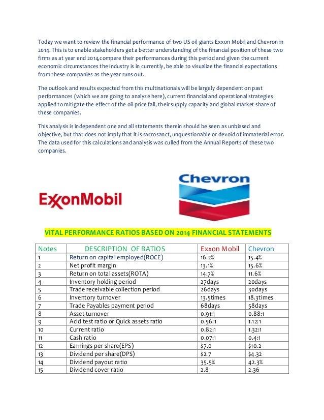 EXXON MOBIL v CHEVRON: A REVIEW OF COMPARATIVE FINANCIAL