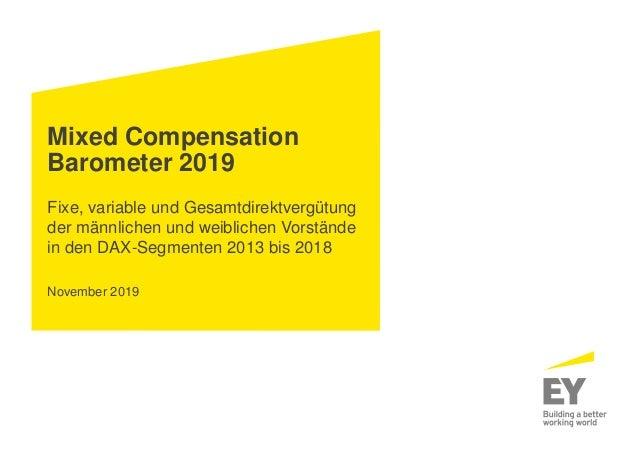 Mixed Compensation Barometer 2019 Fixe, variable und Gesamtdirektvergütung der männlichen und weiblichen Vorstände in den ...