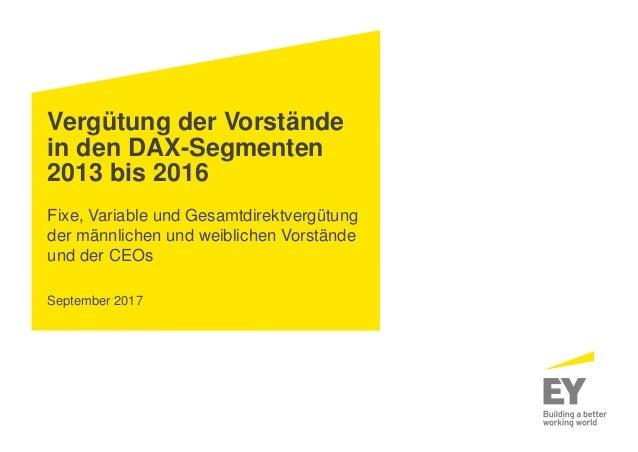 Vergütung der Vorstände in den DAX-Segmenten 2013 bis 2016 Fixe, Variable und Gesamtdirektvergütung der männlichen und wei...