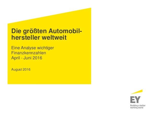 Die größten Automobil- hersteller weltweit Eine Analyse wichtiger Finanzkennzahlen April - Juni 2016 August 2016