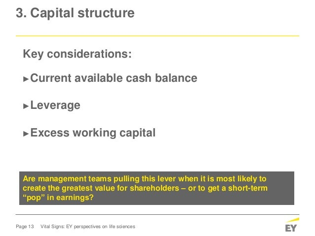 Page 13 Vital Signs: EY perspectives on life sciences 3. Capital structure Key considerations: ►Current available cash bal...