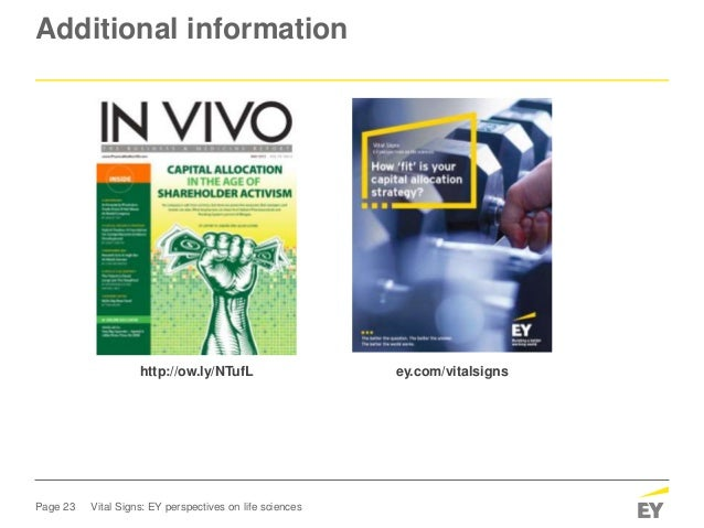Page 23 Vital Signs: EY perspectives on life sciences Additional information ey.com/vitalsignshttp://ow.ly/NTufL