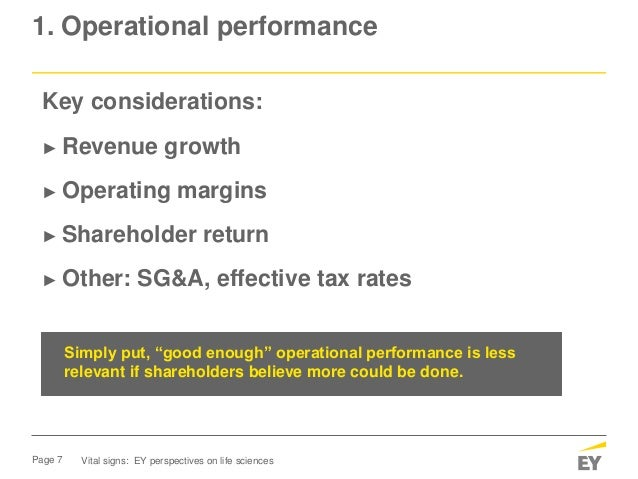 Page 7 1. Operational performance Vital signs: EY perspectives on life sciences Key considerations: ► Revenue growth ► Ope...