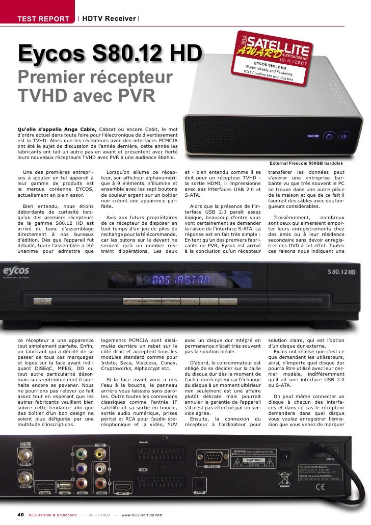TEST REPORT                  HDTV Receiver     Eycos S80.12 HD                                                            ...