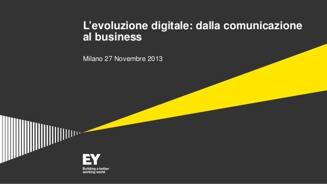 L'evoluzione digitale: dalla comunicazione al business Milano 27 Novembre 2013