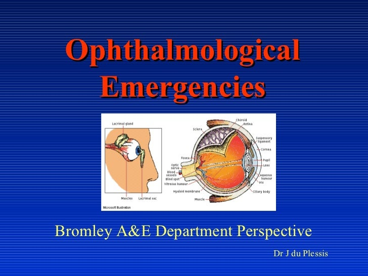 Ophthalmological Emergencies Bromley A&E Department Perspective  Dr J du Plessis