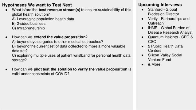 Hypotheses We want to Test Next ● What is/are the best revenue stream(s) to ensure sustainability of this global health so...