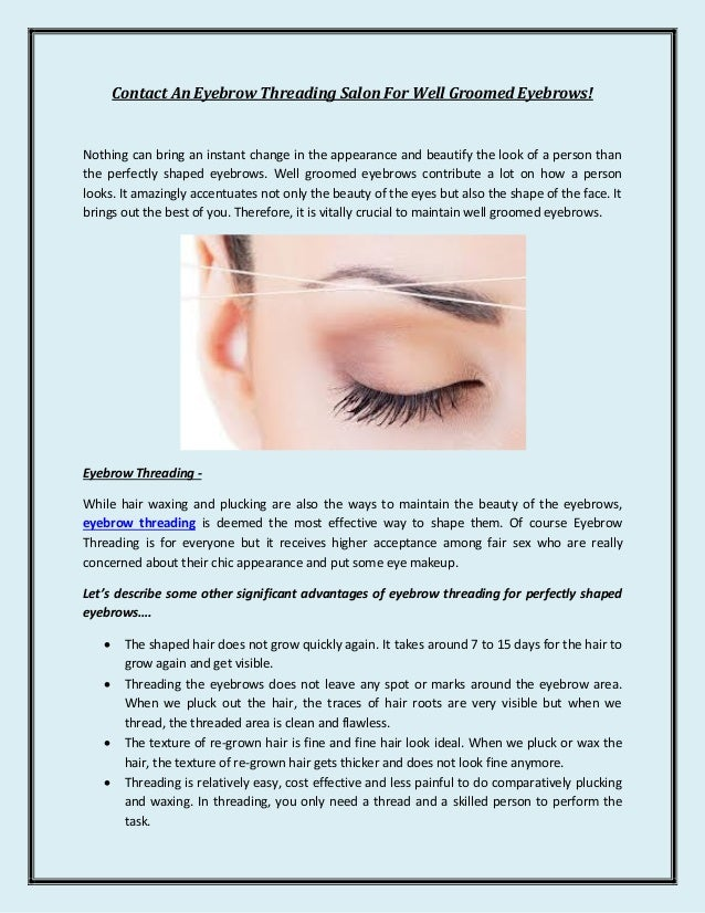 Eyebrow Threading Salon For Well Groomed Eyebrows