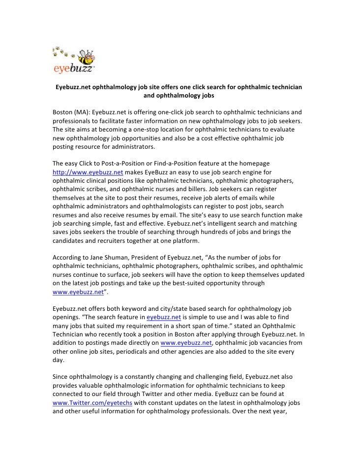 Eyebuzz.netophthalmologyjobsiteoffersoneclicksearchforophthalmictechnician                              and...